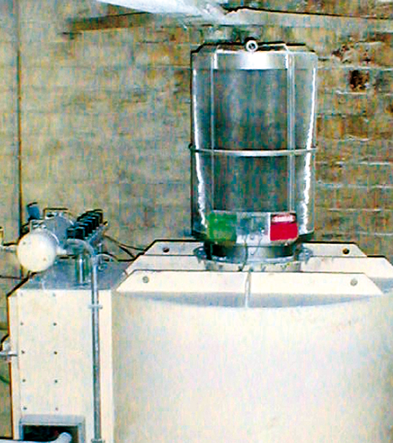 Flameless Venting Q-Rohr on a dedusting filter for packaging factory